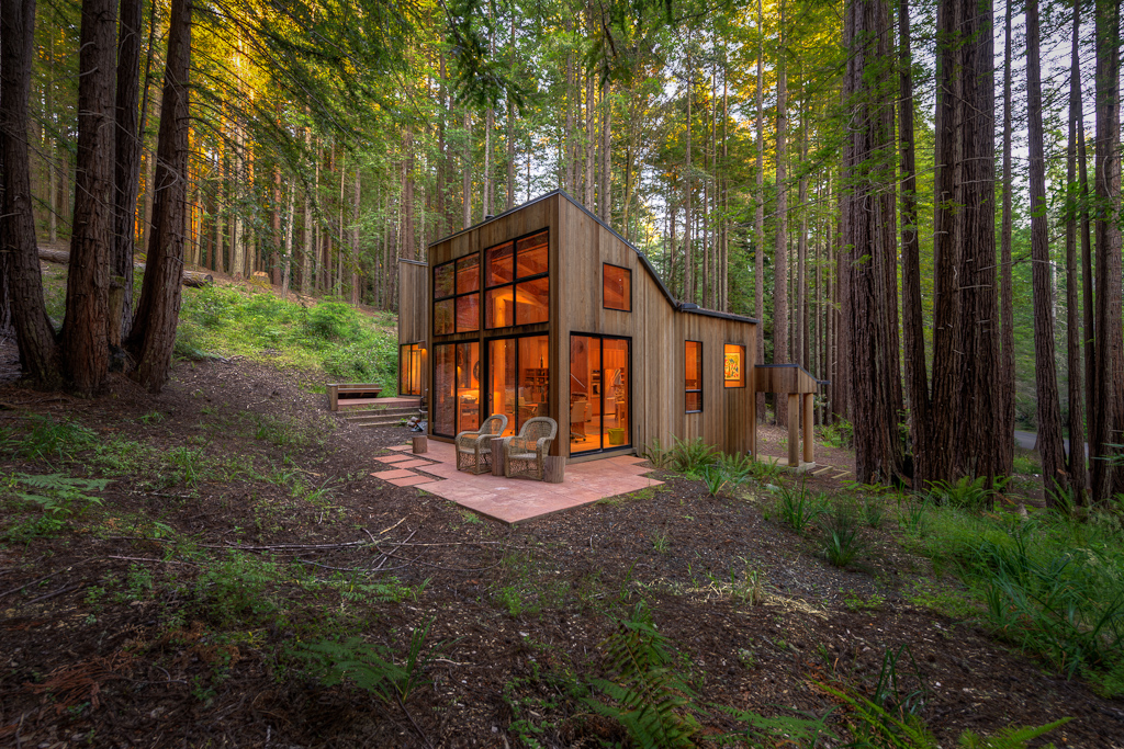 Real estate photography sea ranch home nestled in redwood for Building a small cabin in the woods
